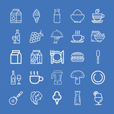 Set of 25 food outline icons