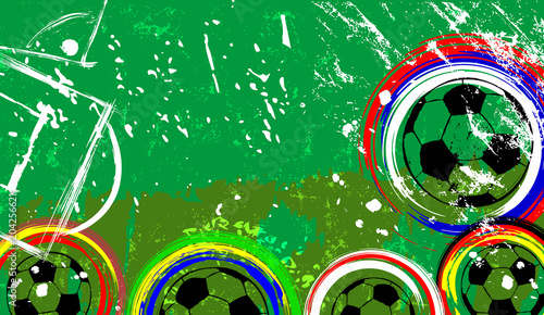 Fotobehang Abstract met Penseelstreken Football / soccer grunge design template , free copy space