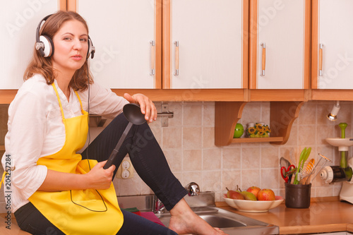Thinking housewife at home