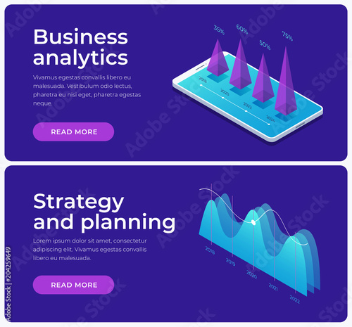Business Analytic Banners Dark Grey Banners