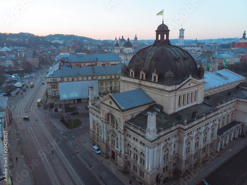 old european architecture. opera building in center of city. aerial view