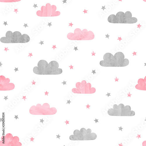 Fototapeta Seamless watercolor clouds and stars pattern. Vector illustration for kids design.