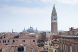 Venice, Italy: Panoramic view on the roofs of the city with the bell tower of San Marco in the background, Italian landscape.