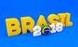 3D Lettering do Futebol no Brasil com volume e etiqueta brasileira, texturas de elementos. torneio internacional de esporte e tendência 2018