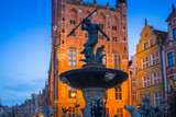Fountain of the Neptune in old town of Gdansk at dawn, Poland - 204281277