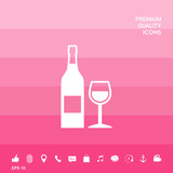 Bottle of wine and wineglass icon - 204283612