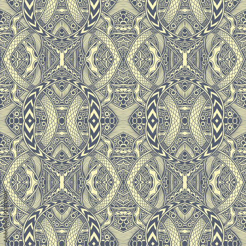 Abstract Zen tangle Zen doodle seamless pattern grey yellow for coloring page or adult coloring book or for print on t shirt or for decoration package and different things