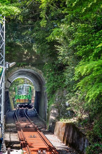 Plexiglas Spoorlijn 新緑とケーブルカー