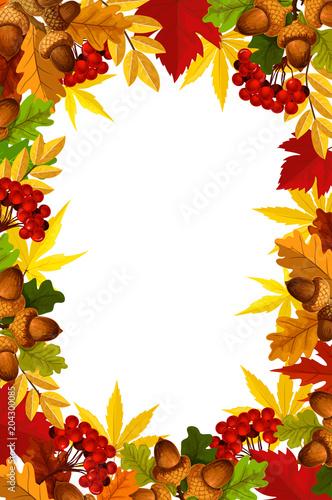 Autumn frame of fall season leaf, acorn and berry