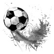 Leinwanddruck Bild - Soccer ball. football watercolor hand drawn illustration