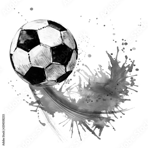 Leinwanddruck Bild Soccer ball. football watercolor hand drawn illustration