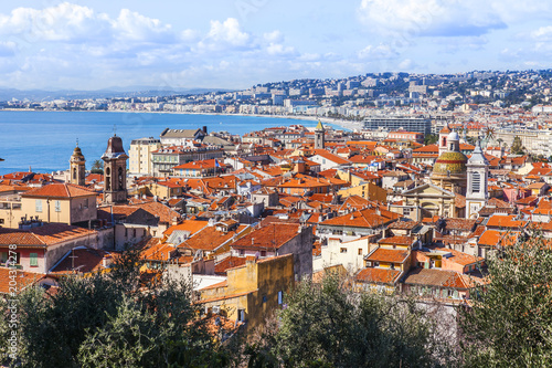Fotobehang Nice NICE, FRANCE, on March 9, 2018. A view from the survey platform of Hill Shato on the old city and a picturesque bay