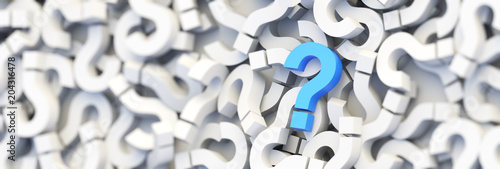 Blue question mark on a background of white signs. 3D Rendering