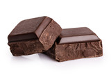 Pieces of dark chocolate isolated on white background. - 204319418