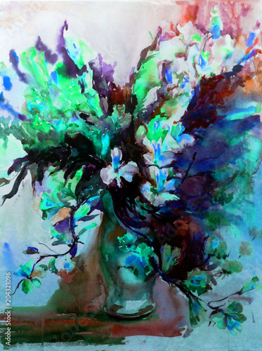 Abstract bright colored decorative background . Floral pattern handmade . Beautiful tender romantic spring bouquet of exotic flowers in the vase , made in the technique of watercolors from nature.