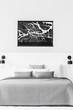 Map in contrast bedroom interior