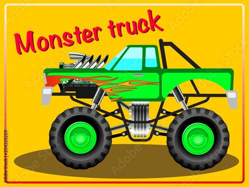 Fotobehang Auto Cartoon Monster Truck.