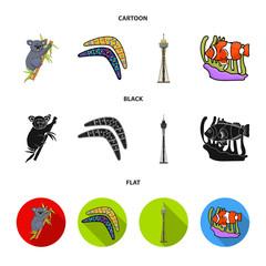Koala on bamboo, boomerang, Sydney tower, fish clown and ammonium.Australia set collection icons in cartoon,black,flat style vector symbol stock illustration web.