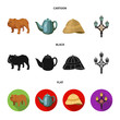 roleta: breed dog, teapot, brewer .England country set collection icons in cartoon,black,flat style vector symbol stock illustration web.