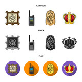 Picture, sarcophagus of the pharaoh, walkie-talkie, crown. Museum set collection icons in cartoon,black,flat style vector symbol stock illustration web.