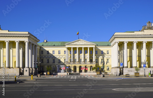 Fototapeta Warsaw, Poland - Historic building of Warsaw City Hall in city center at the Plac Bankowy Square