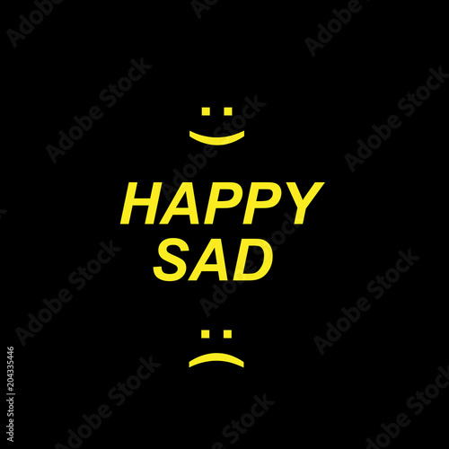 Canvas Positive Typography Concept of happy and sad symbols