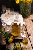 Dandelion Cordial in glass bottle .style vintage