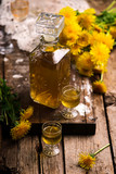 Dandelion Cordial in glass bottle .style vintage