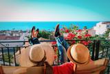 happy couple relax on balcony terrace - 204342071