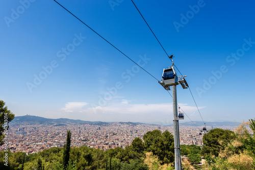 Fotobehang Barcelona Cableway from Barcelona to Montjuic - Spain