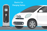Modern Electric Car and Charging Station - 204343647