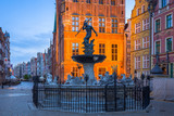 Fountain of the Neptune in old town of Gdansk at dawn, Poland - 204345647