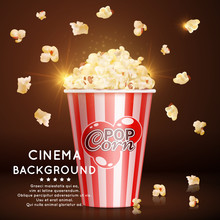 Cinema    Realistic Popcorn Sticker