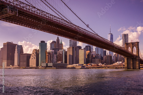 Canvas Brooklyn Bridge New York au coucher du soleil