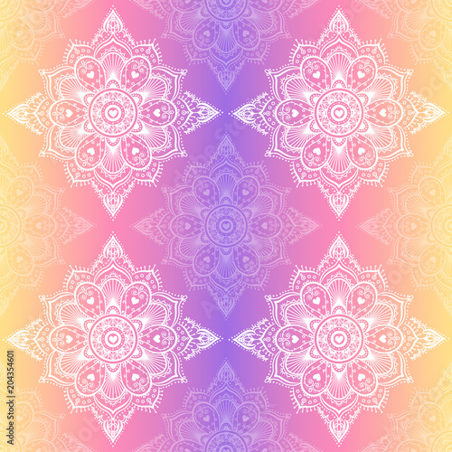 Seamless mandala pattern. Vector hipster design in violet and pink colors. Mandala with floral patterns on dreamy gradient background. Yoga template