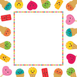 Vector frame, card with cute smiling cartoon ice cream characters. Colorful background for kids summer or birthday party. - 204356203
