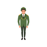 Army officer in formal wear: green jacket, pants and peaked cap. Military theme. Cartoon character of young man. Flat vector design - 204357811