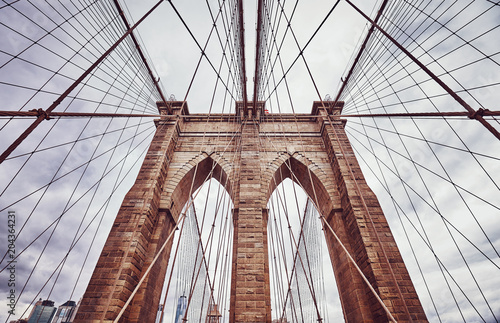 Vintage toned picture of the Brooklyn Bridge, New York City, USA. - 204364231