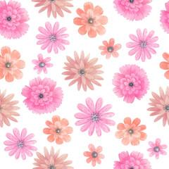 Watercolor meadow flowers seamless pattern