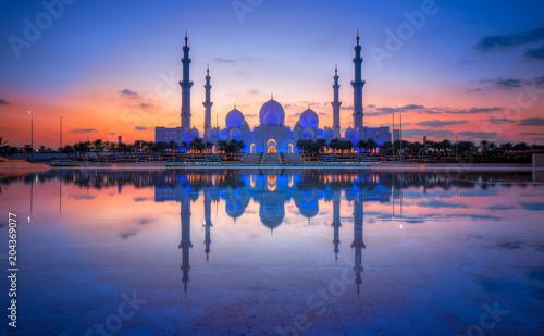 Fotobehang Abu Dhabi Sonnenuntergang Sheikh Bin Zayed Grand Mosque