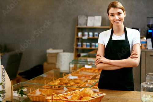 Pastry Shop. Portrait Of Young Woman Working In Bakery