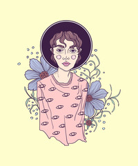 Hand drawn graphic style girl in pastel colors wearing black fedora hat framed with plants and flowers. Vector isolated illustration on a yellow background.