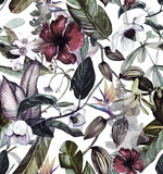 Seamless watercolor pattern with tropical flowers, magnolia, orange flower, vanilla orchid, tropical leaves, banana leaves - 204378461