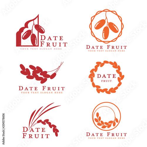 Red and orange Date palm fruit logo sign vector set design - 204378606