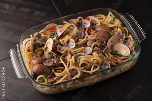 spaghetti with fish - Italian cuisine