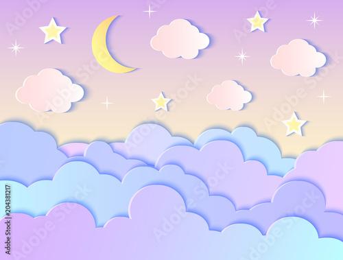 Fotobehang Purper clouds,stars and moon
