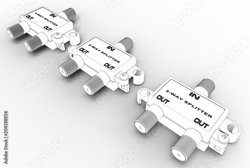 3d illustration of TV cable splitter isolated on white © Ildar