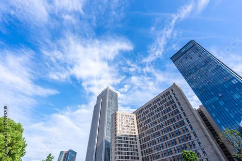 Obraz na płótnie up view of modern office building