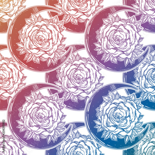 Rose inside a crescent moon ornate seamless pattern - 204390482