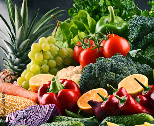 Poster Composition with variety of raw organic vegetables and fruits